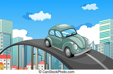 A car travelling at the road in the city