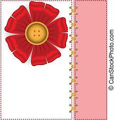 A card with a silk flower