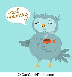 A card with an owl holding a mug. Lettering good morning. Vector illustration.