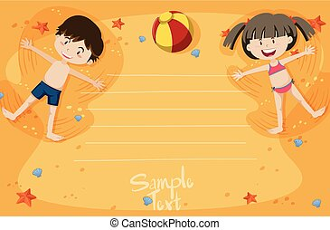 A card with boy and girl summer vacation