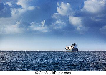 a cargo ship - cargo ship in the ocean in the sky