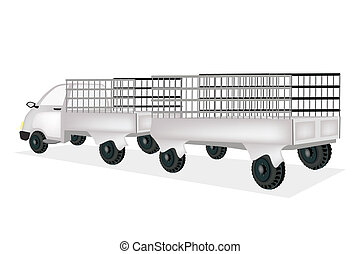 A Cargo Truck with General Goods Trailer - Illustration of...