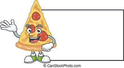 A caricature drawing of slice of pizza with board