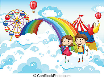 Illustration of a carnival in the sky with a rainbow