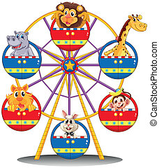 A carnival ride with animals