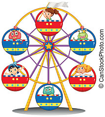 A carnival ride with monsters and kids