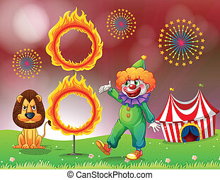 A carnival with a clown and a lion near the ring of fire -...