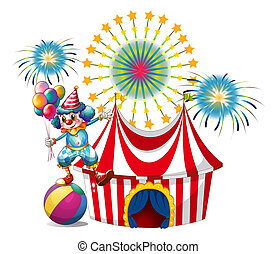 A carnival with a clown holding balloons