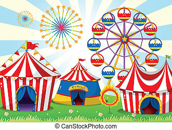 Illustration of a carnival with stripe tents