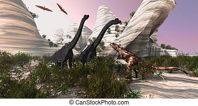 Carnotaurus - A Carnotaurus dinosaur approaches two huge...