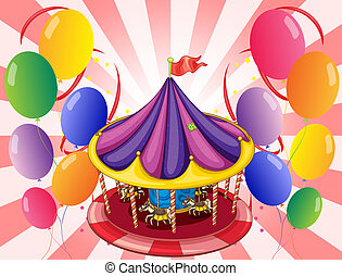 A carousel at the center of the balloons - Illustration of a...