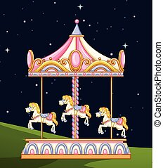 A carousel in the park at night