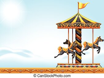 A carousel ride - Illustration of a carousel ride