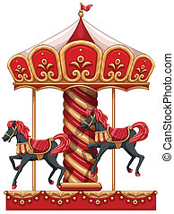 A carousel ride with horses - Illustration of a carousel...
