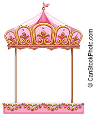 Illustration of a carousel ride without a horse on a white background