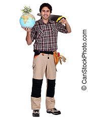 a carpenter holding a globe