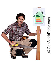 A carpenter promoting energy savings.