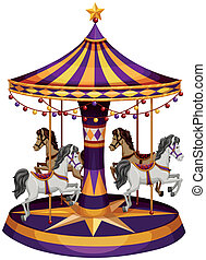 A carrousel ride - Illustration of a carrousel ride on a...