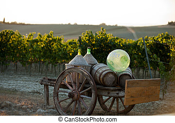 A cart loaded with wine bottles