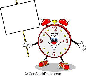 A cartoon alarm clock holding a copy space placard