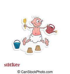 A cartoon baby in a diaper plays with a sand set. Vector illustration in the form of a sticker in retro style.