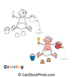 A cartoon baby in a diaper plays with a sand set. Vector illustration in the form of coloring and color example.