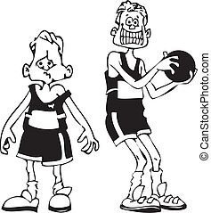 cartoon basketball players