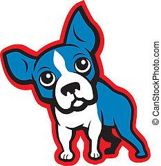 A cartoon Boston Terrier.