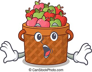 A cartoon character of apple basket making a surprised gesture