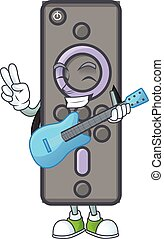 A cartoon character of remote control TV playing a guitar