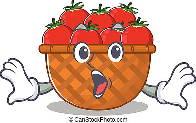 A cartoon character of tomato basket making a surprised gesture