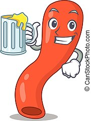 A cartoon concept of appendix with a glass of beer. Vector ...