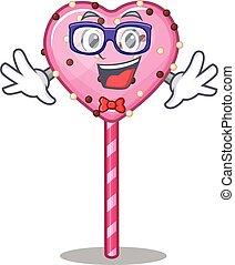 A cartoon concept of Geek candy heart lollipop design