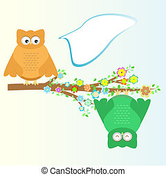 A cartoon cute owl sits on branch tree