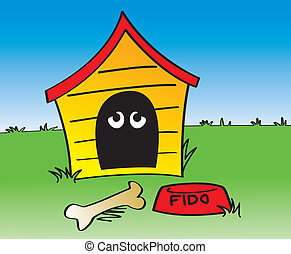 In The Dog House - A cartoon depiction of the phrase In The...