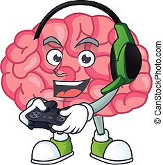 A cartoon design of brain talented gamer play with headphone and controller