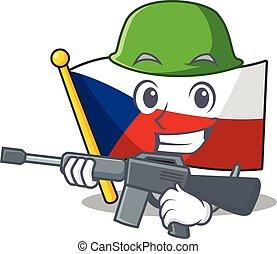 A cartoon design of flag czechia Army with machine gun