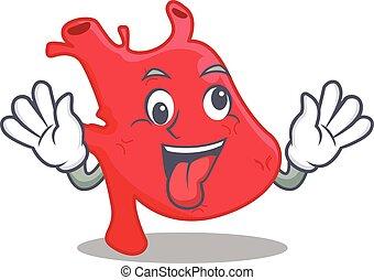 A cartoon design of heart having a crazy face