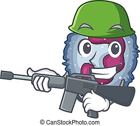 A cartoon design of neutrophil cell Army with machine gun. ...