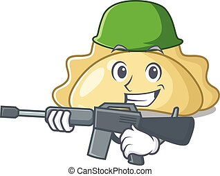 A cartoon design of pierogi Army with machine gun. Vector illustration