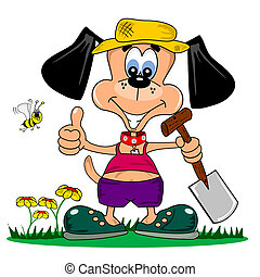 A cartoon dog with spade gardening in summer clothes