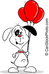 A Cartoon Dog with Red Balloons