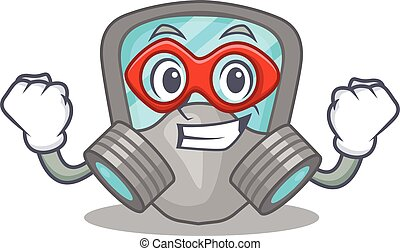 A cartoon drawing of respirator mask in a Super hero character