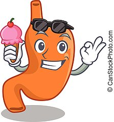 A cartoon drawing of stomach holding cone ice cream. Vector illustration
