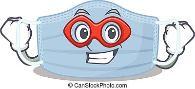 A cartoon drawing of surgical mask in a Super hero character