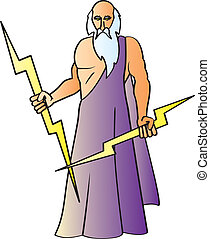 Zeus - A cartoon drawing of the Greek God Zeus also known as...