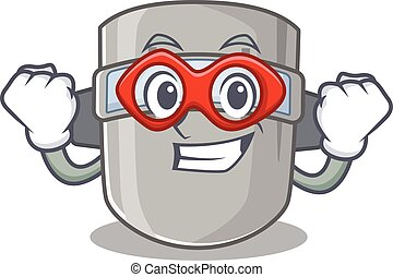 A cartoon drawing of welding mask in a Super hero character
