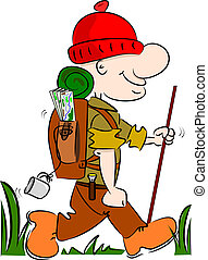 A cartoon hiker rambler going camping with rucksack and...