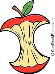 Apple Core - A cartoon illustration of a Apple Core.