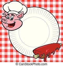 BBQ Rib Cookout - A cartoon illustration of a BBQ Rib ...